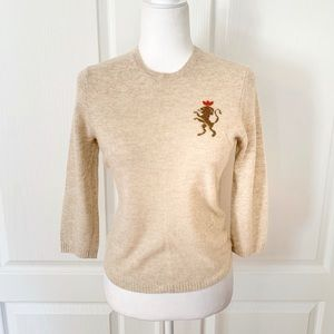 J. Crew | Cashmere Wool Lion Graphic Sweater Sz M